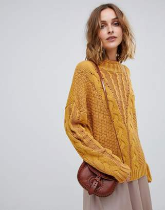 Moon River mock neck cable knit mustard sweater