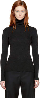 3.1 Phillip Lim Black Ribbed Lurex Turtleneck