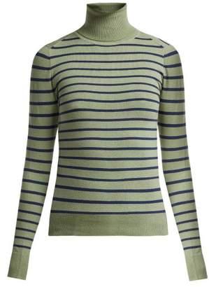 43632e640 JoosTricot Striped Cotton Blend Roll Neck Sweater - Womens - Green Multi