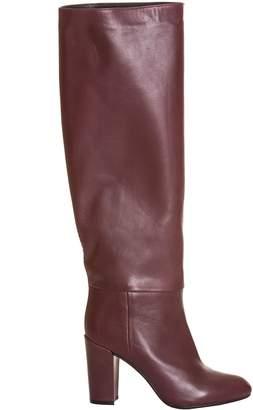 Essentiel Antwerp Burgundy Leather Knee-high Boots