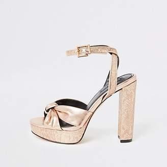 River Island Gold knot front platform heeled sandal