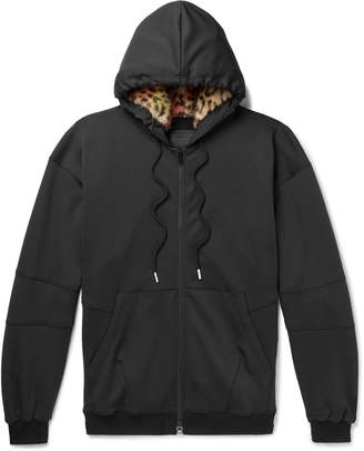 99% Is 99%Is 99%IS- - Leopard-Print Faux Fur-Trimmed Stretch-Jersey Hoodie - Men - Black