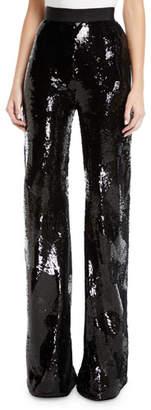 Brandon Maxwell Geometric-Sequin High-Waist Wide-Leg Pants