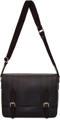 Burberry Navy and Black London Check Hedley Messenger Bag