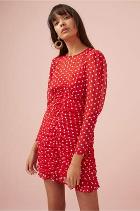 Finders Keepers BLOSSOM LONG SLEEVE DRESS red w white