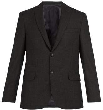 Officine Générale - 375 Single Breasted Plaid Wool Blazer - Mens - Dark Grey