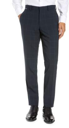 Ted Baker Reese Flat Front Plaid Wool Trousers