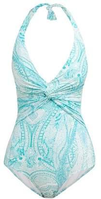 Melissa Odabash Zanzibar Knotted Halterneck Swimsuit - Womens - Blue Print