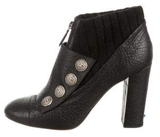 Chanel Leather High-Heel Ankle Boots