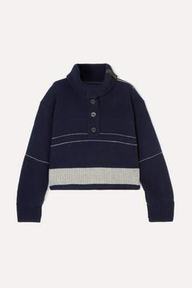 Sacai Waffle-knit Wool Sweater - Navy