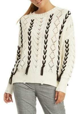 Dex Long-Sleeve Contrast Cable-Knit Sweater