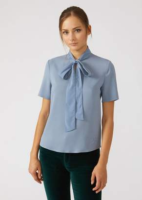 Emporio Armani Short-Sleeved Pussy Bow Blouse