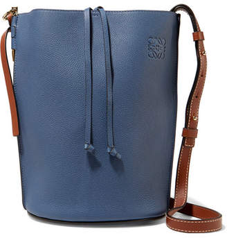 Loewe Gate Textured-leather Bucket Bag - Storm blue