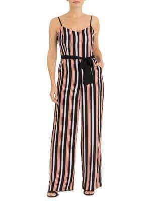 Forest Lily Stripe Belted Jumpsuit