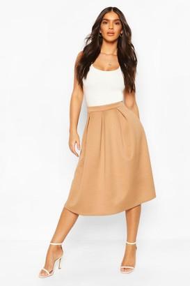 boohoo Box Pleat Midi Skirt