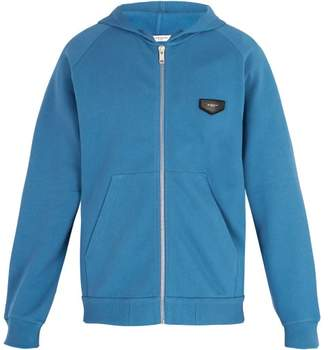 Givenchy Logo Patch Hooded Cotton Sweatshirt - Mens - Blue
