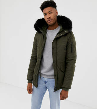 Asos Sixth June parka coat in khaki with black faux fur hood exclusive to