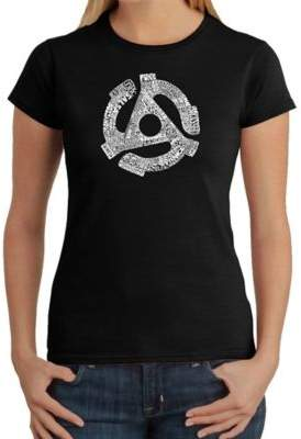 Women's Large Word Art 45 Adaptor T-Shirt in Black $19.99 thestylecure.com