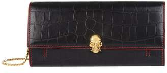 Alexander McQueen Croc Embossed Leather Skull Wallet