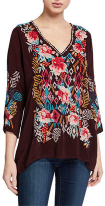 Johnny Was Emmaline V-Neck Multi Embroidered Blouse