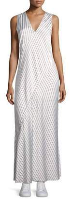 Theory Sleeveless V-Neck Crushed Satin Striped Slip Dress