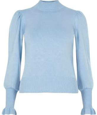 River Island Petite blue knit frill trim sweater
