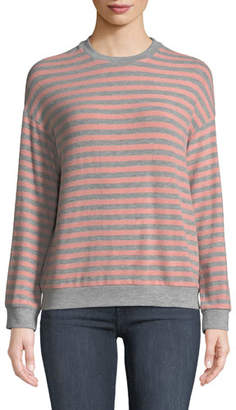Velvet Landry Striped Long-Sleeve Crewneck Top