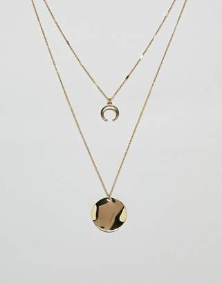 NY:LON double layered neclace with wishbone pendant