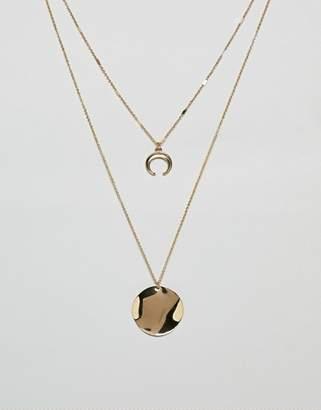NY:LON double layered neclace with wishbone pendant
