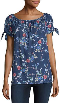 ST. JOHN'S BAY Womens Boat Neck Short Sleeve T-Shirt