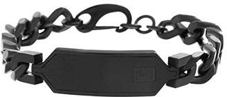 Ben Sherman Men's Curb Chain Bracelet with Faux Leather ID Plate in IP Stainless Steel