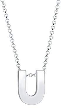 Elli Women's 925 Sterling Silver Plated Letter U Basic Minimal Pendant Necklace