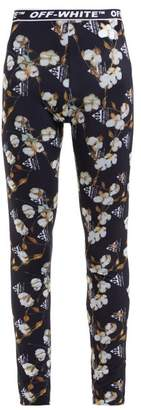 Off-White Off White Floral And Logo Print Leggings - Womens - Black Multi