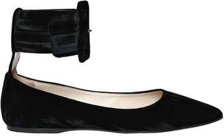 ATTICO 10mm Julia Ankle Strap Velvet Flats