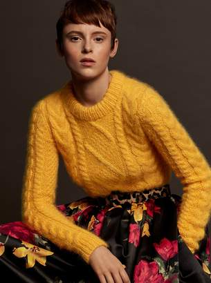 Michael Kors Hand-Knit Cable Mohair-Blend Pullover