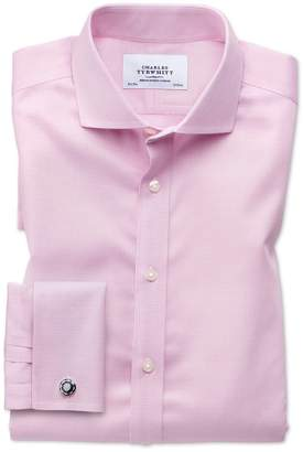 Charles Tyrwhitt Slim Fit Spread Collar Non-Iron Puppytooth Light Pink Cotton Dress Shirt French Cuff Size 17/35