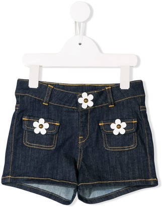 Little Marc Jacobs appliqué flower denim shorts