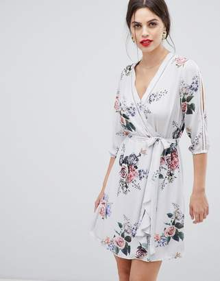 Zibi London long sleeve wrap dress in floral print