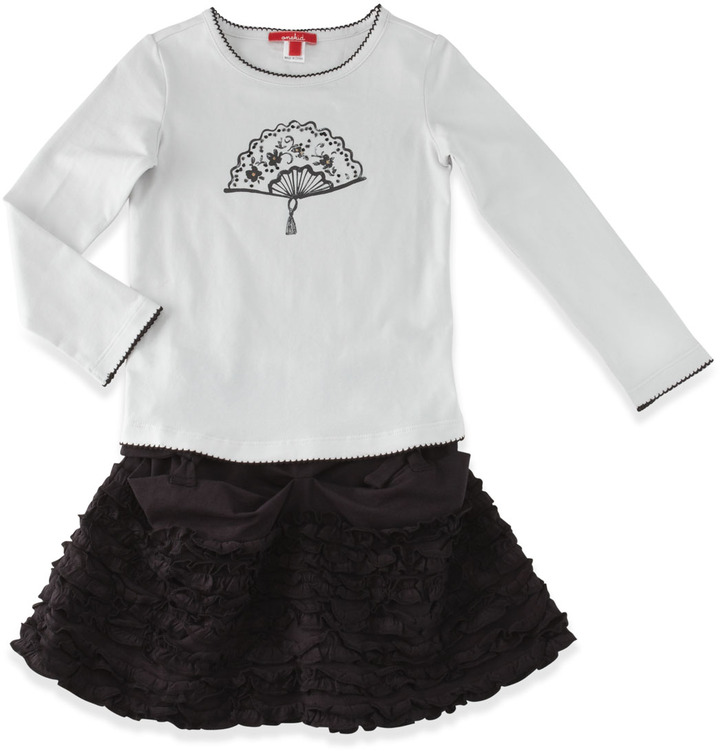 One Kid Ruffle Pouchette Skirt, Black, 2T-4T