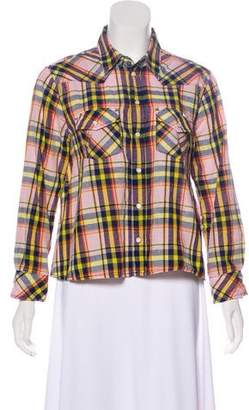 Mother Plaid Button-Up Top
