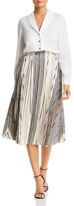 Donna Karan Pleated Combo Dress