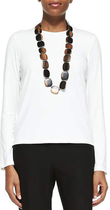 Eileen Fisher Long-Sleeve Silk Crewneck Tee, White, Plus Size