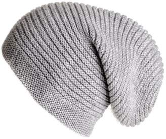 66350a43209 Black Light Grey Cashmere Slouch Beanie Hat