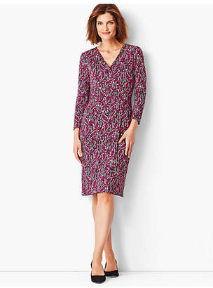 Talbots Crepe Faux-Wrap Sheath Dress - Modern Botanical Print