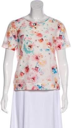 Rebecca Taylor Floral Print Short Sleeve Top