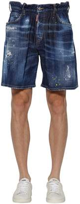 DSQUARED2 35cm Distressed Cotton Denim Shorts