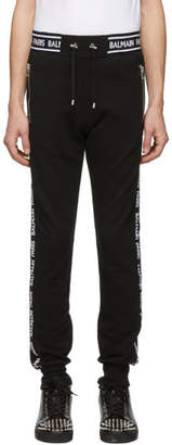 Balmain Black Logo Stripe Lounge Pants