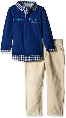 Calvin Klein Baby Boys' Polo Top and Twill Pants Set