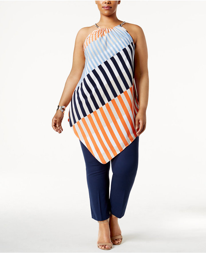 Alfani Alfani Plus Size Striped Halter Tunic, Only at Macy's