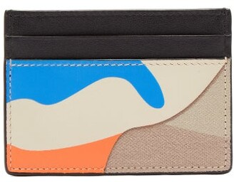 Valentino Camouflage Canvas And Leather Cardholder - Mens - Blue Multi